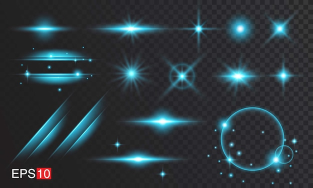Blue lens flare collections Premium Vector