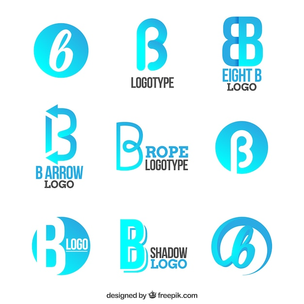 Blue letter b logo collecti Vector | Free Download
