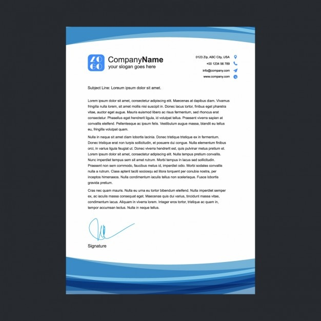 Blue Letterhead Template Free Vector  Letterheads Templates Free Download