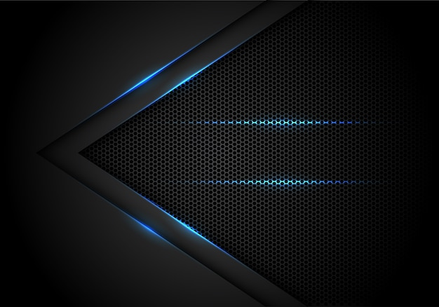 Blue light arrow on black with hexagon mesh background. Premium Vector