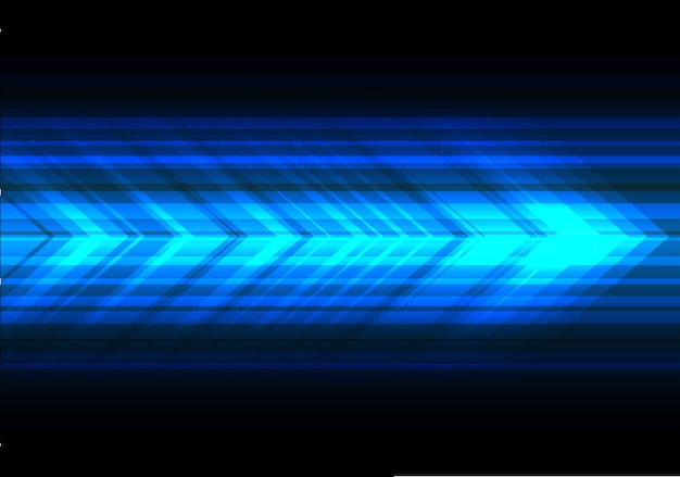Blue light arrow speed technology black background. Premium Vector