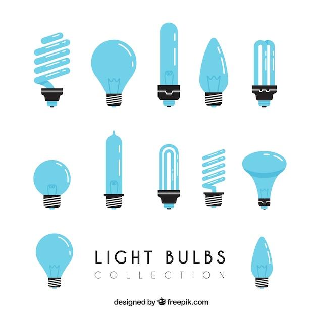 Blue light bulbs collection Free Vector