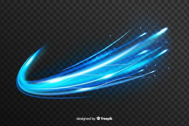 透明な背景に青い光の波の効果 無料ベクター