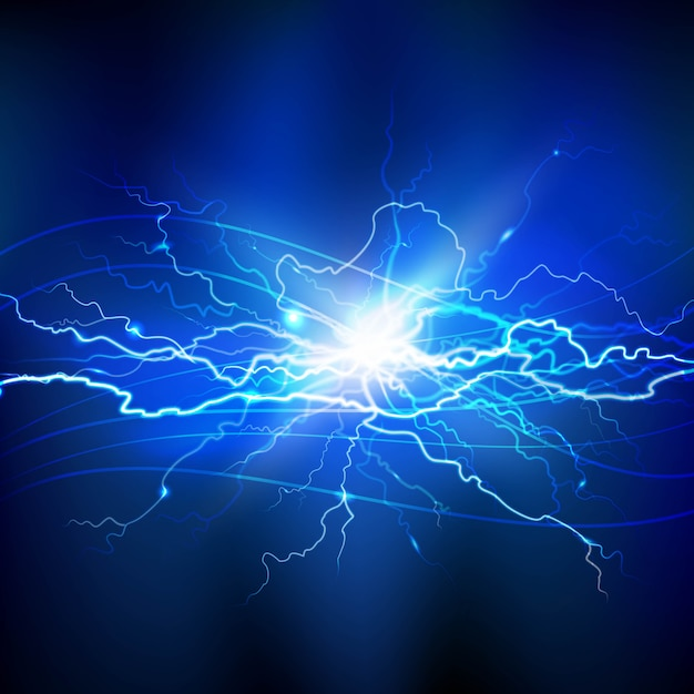 Blue lightning realistic background with a bright bunch of light Free Vector
