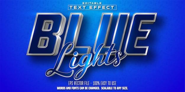 블루 라이트 텍스트, 반짝이는 은색과 파란색 색상 스타일 편집 가능한 텍스트 효과 프리미엄 벡터