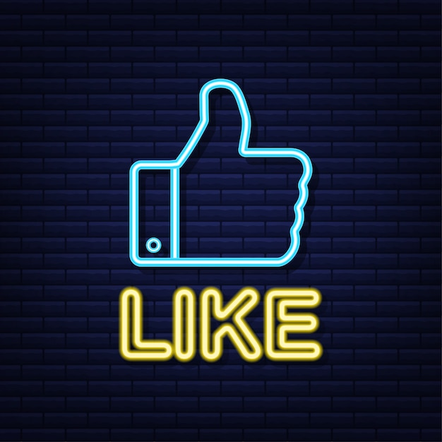 Blue like neon on light background. thumb up icon. hand like. social media network.   illustration. Premium Vector
