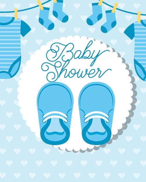 Blue little clothes hanging and shoes baby shower card Premium Vector