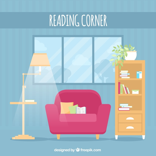 Blue living room with lamp and armchair Free Vector