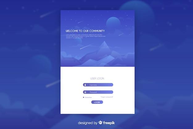 Целевая страница синего журнала с ночным видом на горы Бесплатные векторы