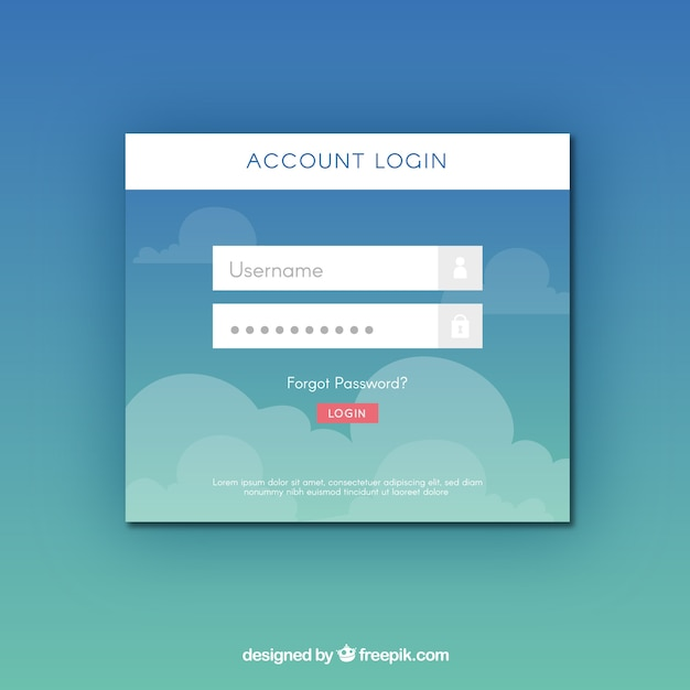 Blue login form template with clouds Free Vector