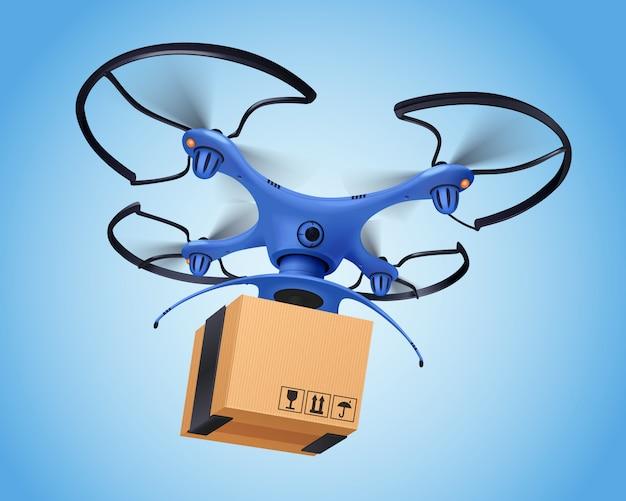 Синий логистический пост дрон реалистичной композиции, и это облегчает доставку почтовых услуг Бесплатные векторы