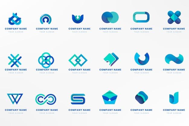 Blue logo branding design set Free Vector