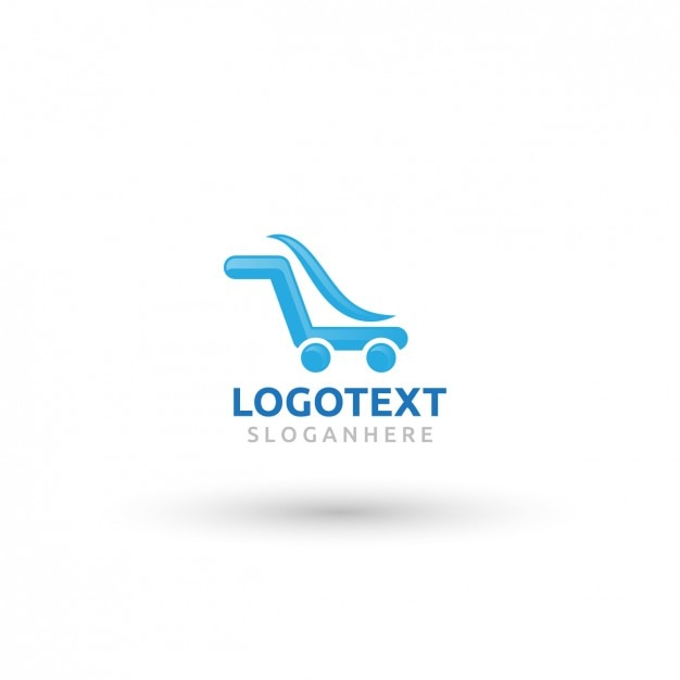 Blue Logo In Shopping Cart Form Vector Free Download