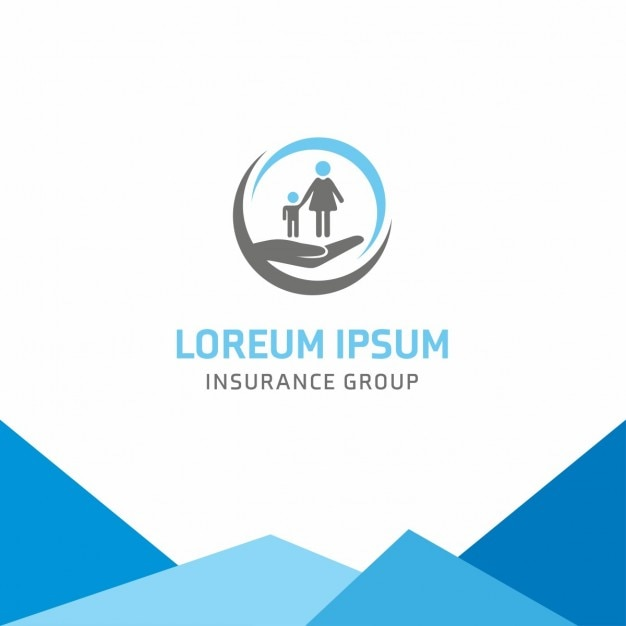 Blue logo, insurance, family Free Vector