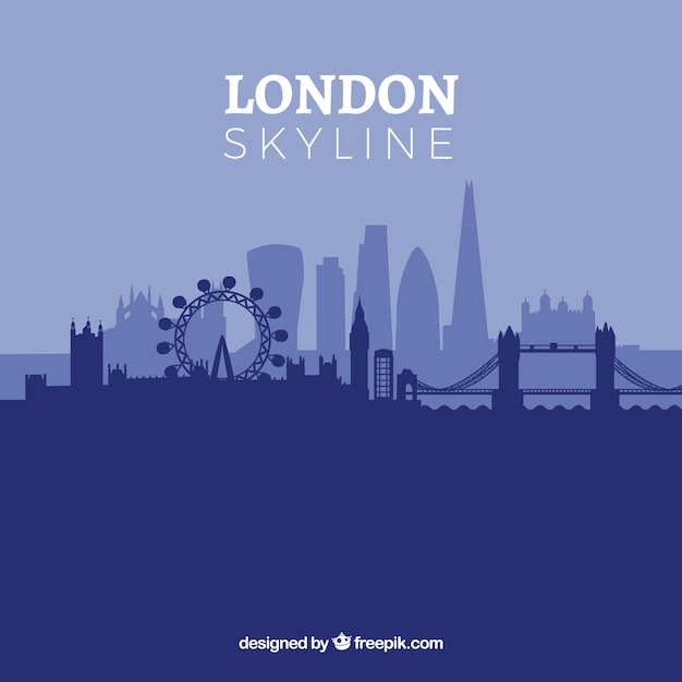 Blue london skyline Free Vector