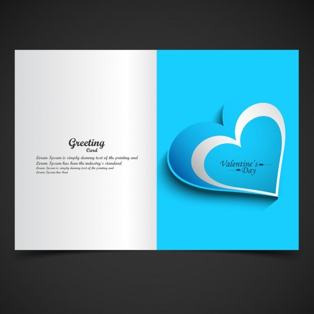 Blue love greeting card Free Vector