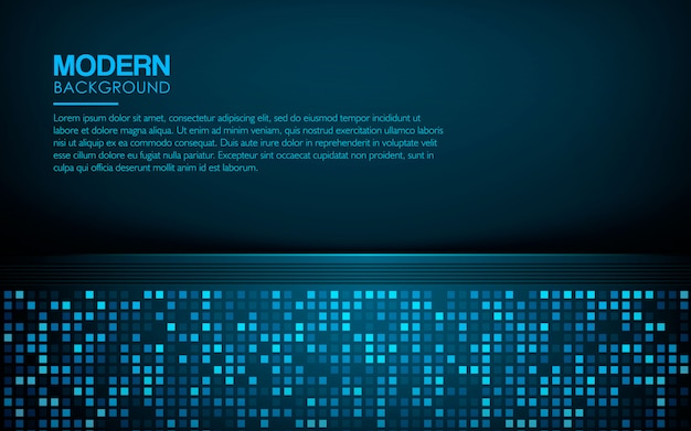 Blue luxury background with light square glitters Premium Vector
