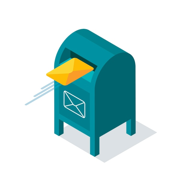 Blue mailbox with letters inside in isometric style. yellow envelope flies into the mailbox. Premium Vector
