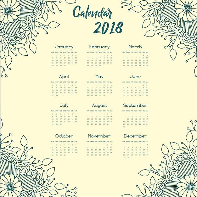 Blue Mandala Style floral annual calendar 2018