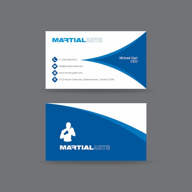 Blue martial arts academy business card template vector premium blue martial arts academy business card template premium vector reheart Images