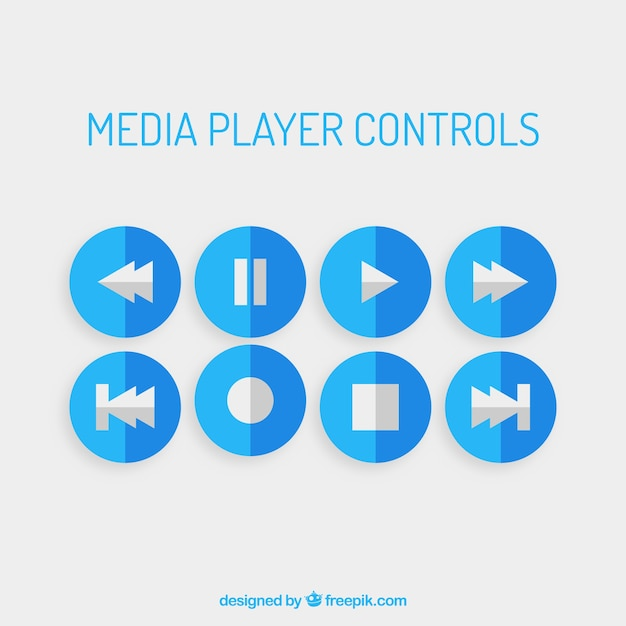 Blue media player controls Vector | Free Download