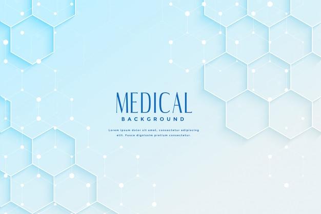 六角形のデザインと青い医療の背景 無料ベクター