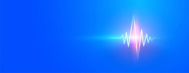 輝くハートビートラインと青い医療バナー 無料ベクター