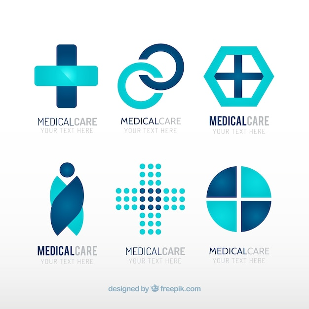 Blue medical center logo templates Free Vector