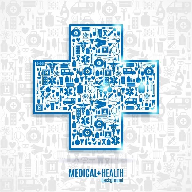 Medicina icon set sfondo croce Vettore gratuito