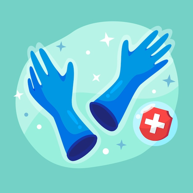 Blue medical gloves for protection Free Vector
