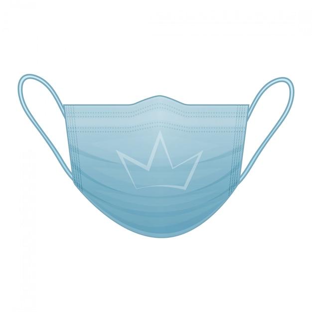 孤立した白地に王冠の記号の付いた青い医療マスク。コロナウイルス。漫画のスタイル。図。白で隔離されます。 Premiumベクター