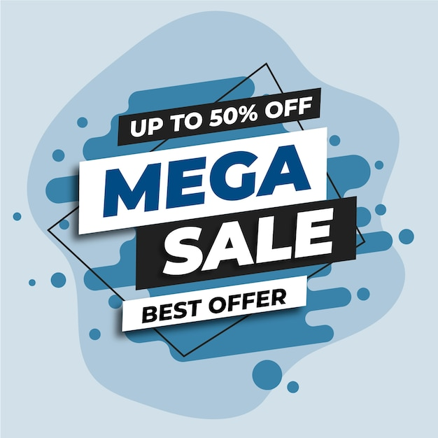 Blue mega sale web banner Free Vector