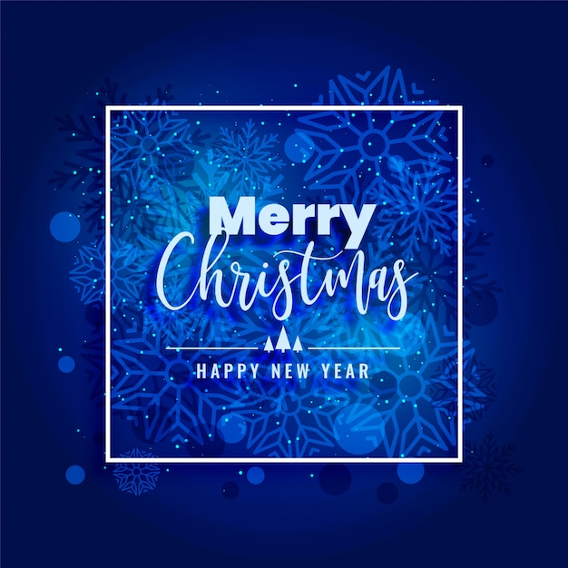 Blue merry christmas snowflakes background beautiful Free Vector