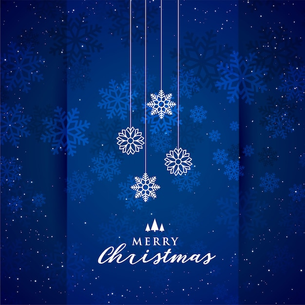 Blue merry christmas snowflakes festival background Free Vector