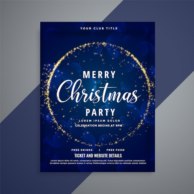 Blue merry christmas sparkles party flyer template Free Vector