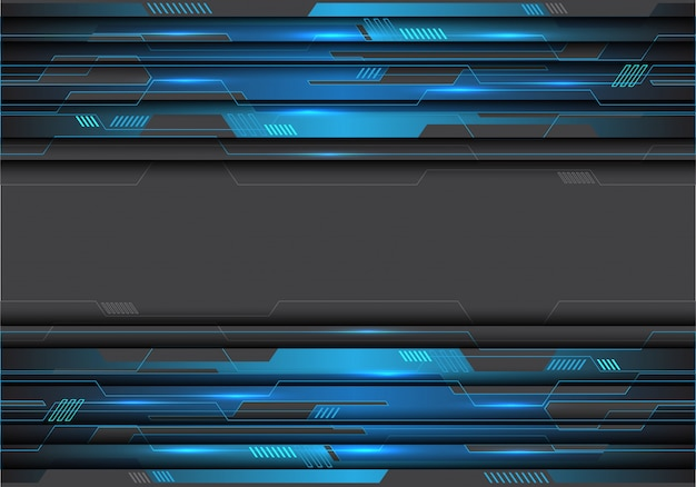 Blue metallic circuit on grey futuristic background. Premium Vector