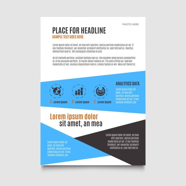 Blue minimal brochure template Free Vector