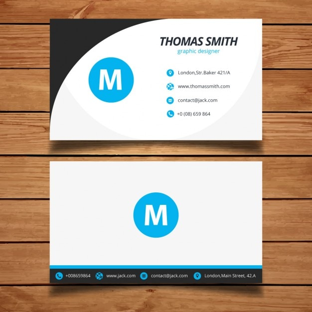 Blue Minimal Business Card Template Free Vector