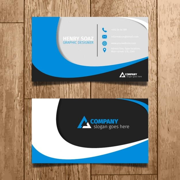 Blue Minimal Business Card Free Vector