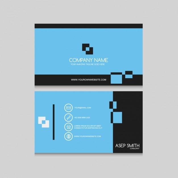 Blue Minimalist Business Card Free Vector