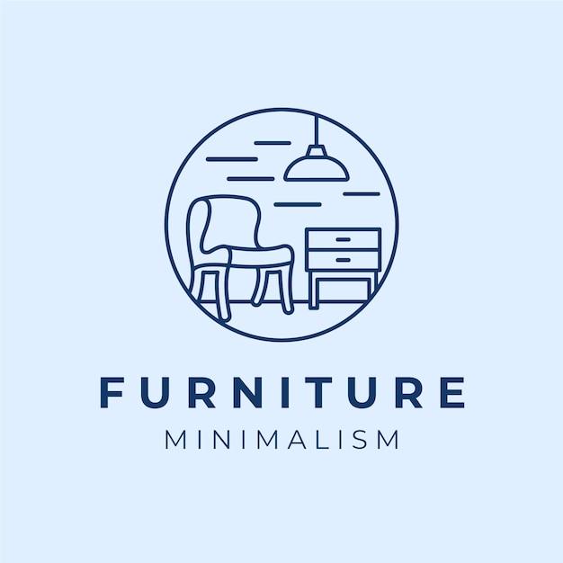 Синий минималистичный логотип мебели Бесплатные векторы
