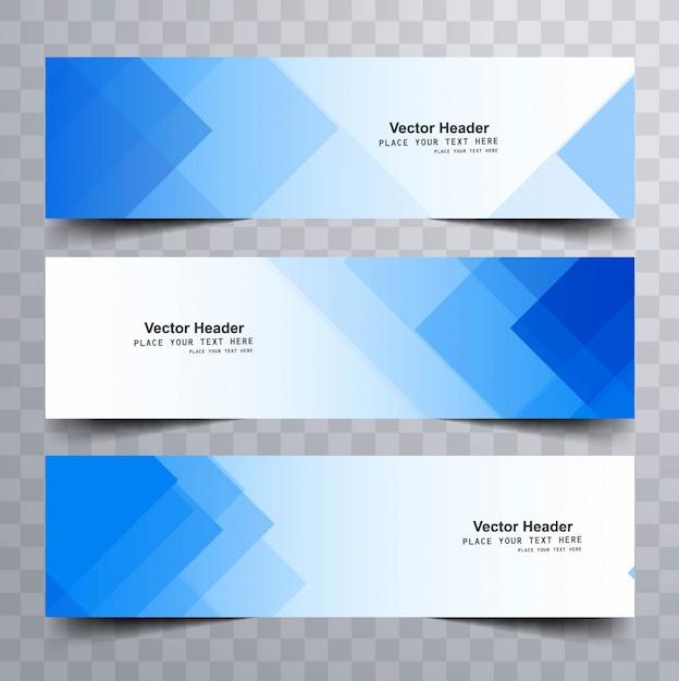 삼각형 모양으로 블루 현대 배너 무료 벡터