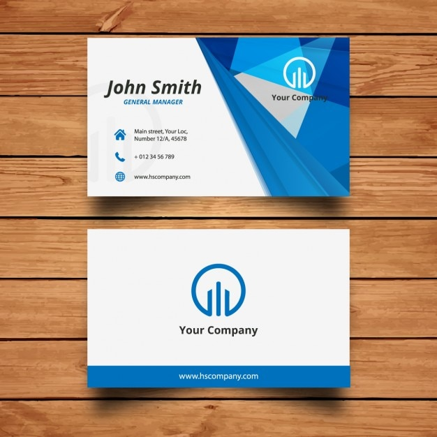 blue modern business card design vector free download