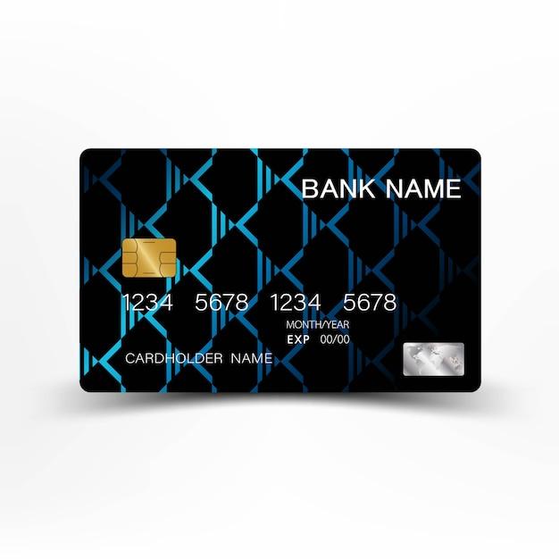 Blue modern credit card template design. Premium Vector