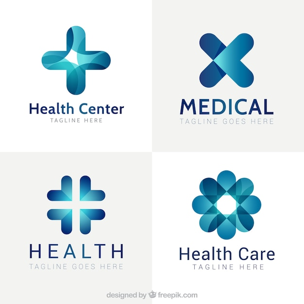 Blue modern medical center logos Free Vector