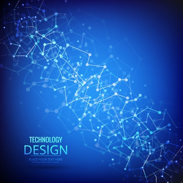 Blue modern technology background with geometric band