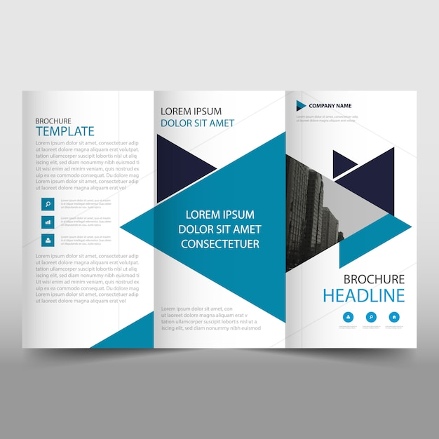 Blue modern trifold business brochure template