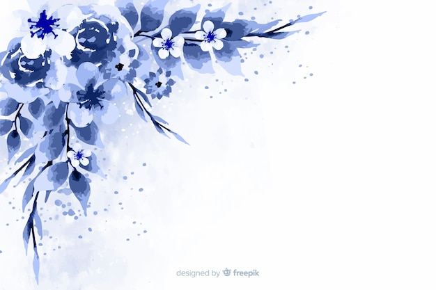Blue monochromatic flowers background Free Vector