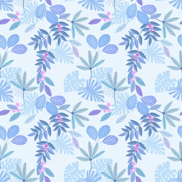 Blue monochrome leaf seamless pattern for fabric textile wallpaper. Premium Vector