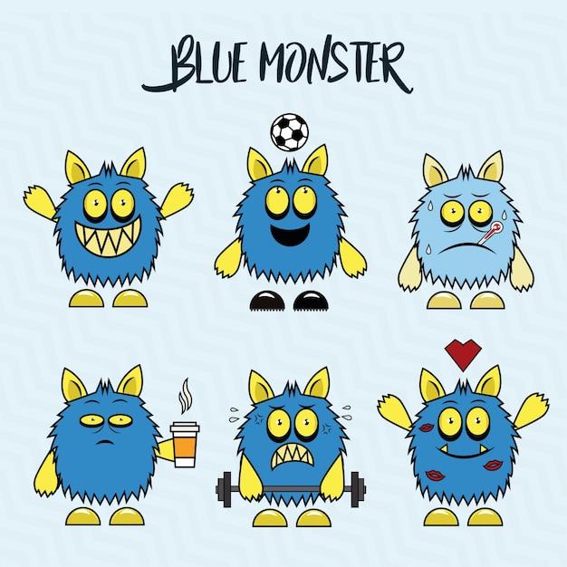 Blue monster Premium Vector